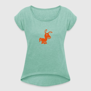 Pony animal drawing 2 - Women's T-shirt with rolled up sleeves