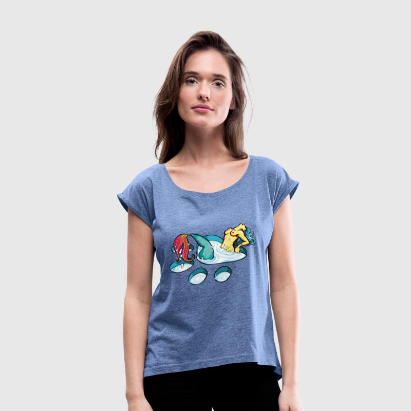 Naughty feline mermaid - Women's T-Shirt with rolled up sleeves