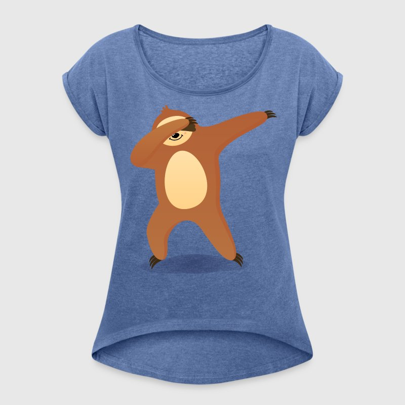 Dabbing Sloth - Women's T-shirt with rolled up sleeves
