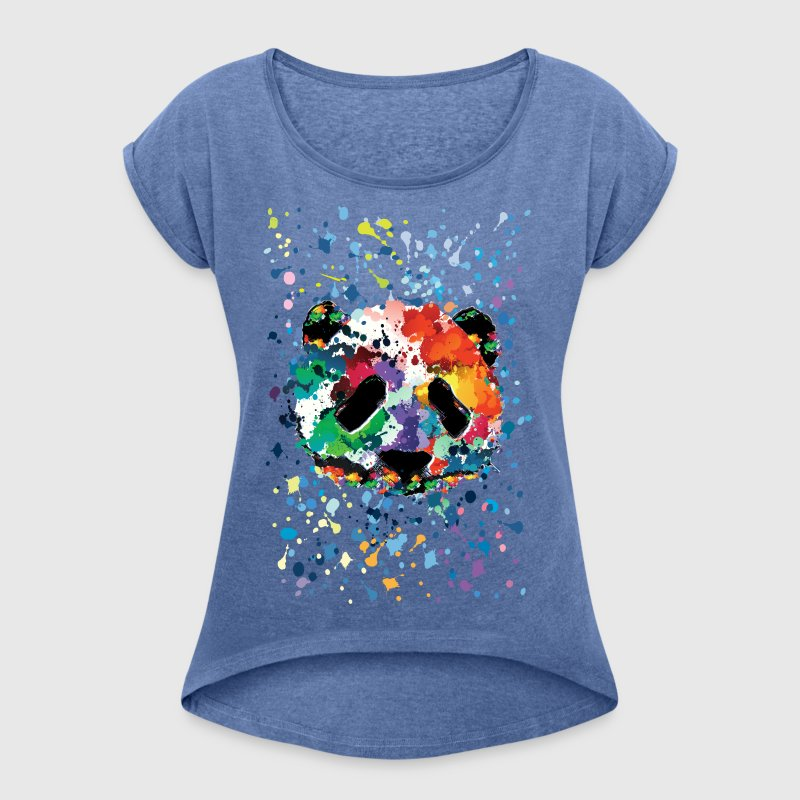 splash panda - Women's T-shirt with rolled up sleeves
