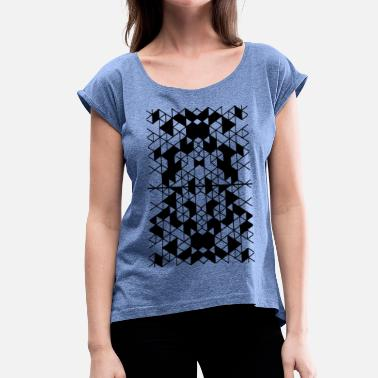 geometry art pattern1 - Women's T-Shirt with rolled up sleeves