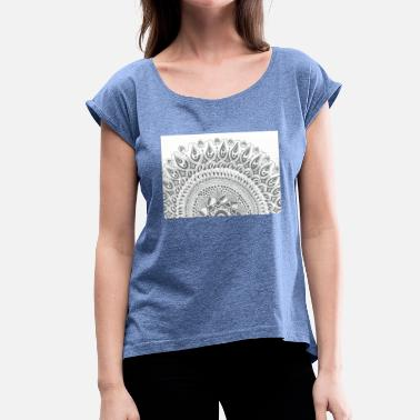 Half Moon Mandala Around Half Moon - Women's T-Shirt with rolled up sleeves
