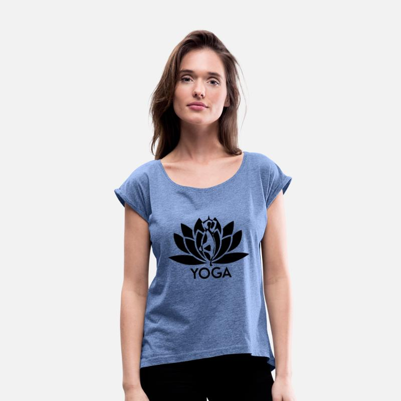 Yoga T-Shirts - ++ ++ Yoga Flower - Women's Rolled Sleeve T-Shirt heather denim