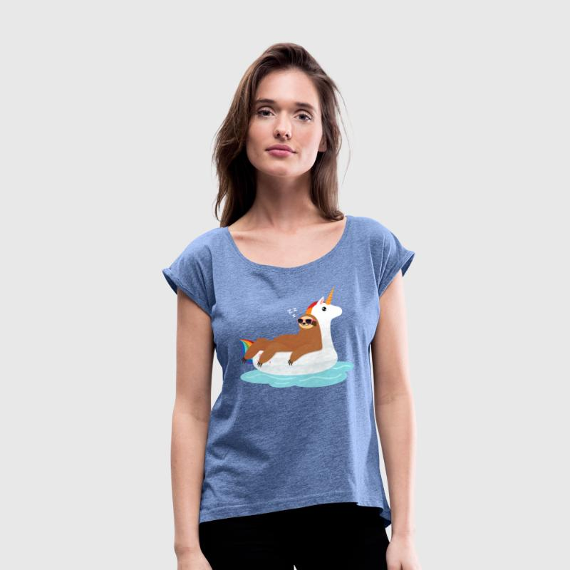 Sloth Sleeping On Unicorn Floaty - Women's T-Shirt with rolled up sleeves