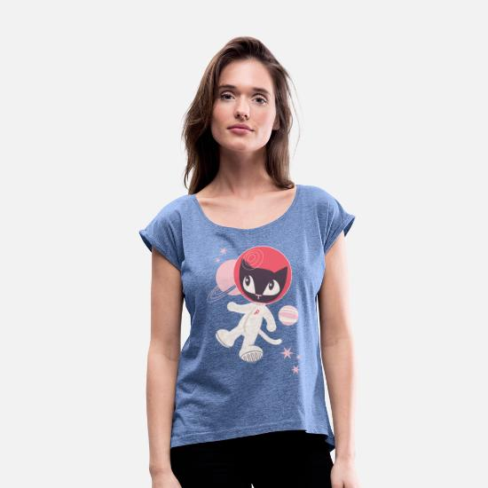 Officialbrands T-Shirts - Pussy Deluxe Astronaut  - Women's Rolled Sleeve T-Shirt heather denim