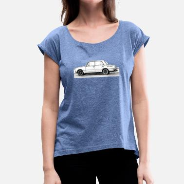 Vintage Clothing old car on new clothes - Women's T-Shirt with rolled up sleeves