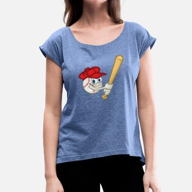 Rounders Funny baseball baseball cap and baseball bat - Women's T-Shirt with rolled up sleeves