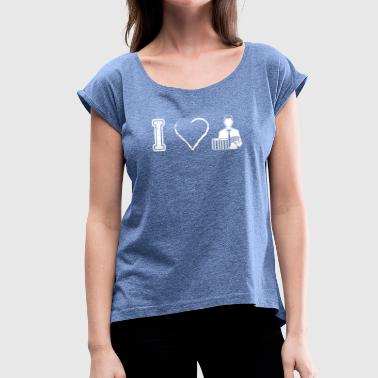 I Love Poker I love poker poker - Women's T-Shirt with rolled up sleeves
