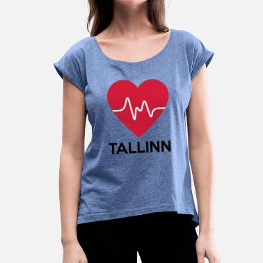 Tallinn heart Tallinn - Women's T-Shirt with rolled up sleeves
