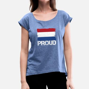 Pride flag flag home origin holland png - Women's T-Shirt with rolled up sleeves