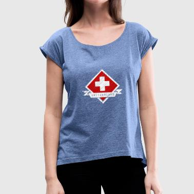 Crossed out Switzerland logo - Women's T-Shirt with rolled up sleeves