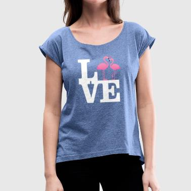 Love Flamingo Couple with heart - Vrouwen T-shirt met opgerolde mouwen