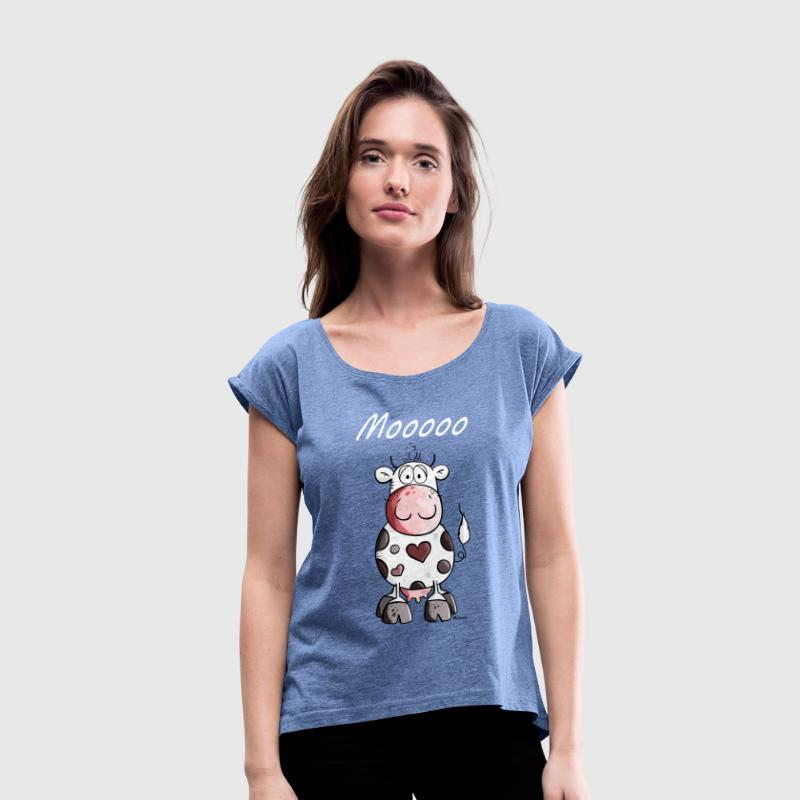 Mooo Cow - Cows - Cute - Farm - Fun - Women's T-Shirt with rolled up sleeves