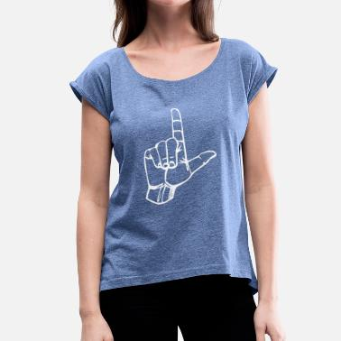 Hand Gesture Loser - Loser Hand - Gesture - Character L - Women's T-Shirt with rolled up sleeves