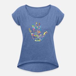 7343922993aaa Memphis Style années 80 Handprint Sweat à capuche premium Femme ...