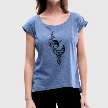 Moon with goddess, triple moon - Women's T-Shirt with rolled up sleeves