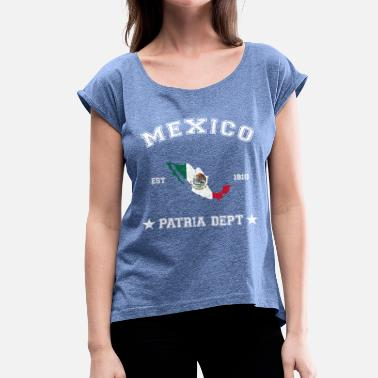 Honduras Mexico vintage map with date of founding - Camiseta con manga enrollada mujer