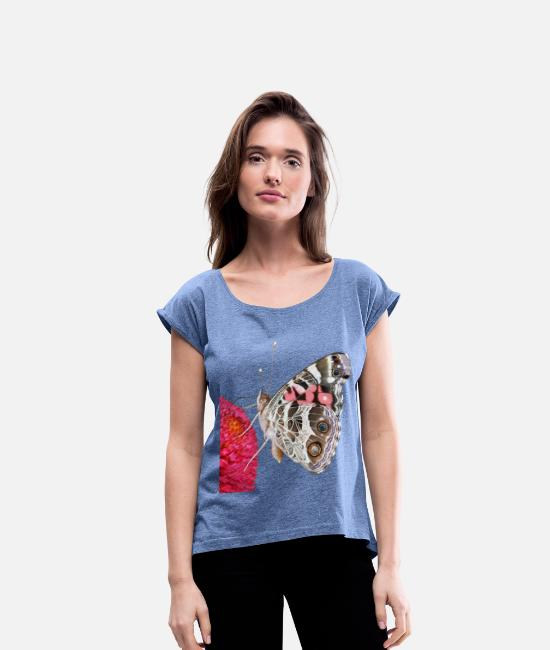 Butterfly T-Shirts - Butterfly on blossom - Women's Rolled Sleeve T-Shirt heather denim