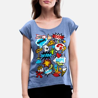 Comics Comic Book Style, comics, funny, boom, patches - Women's Rolled Sleeve T-Shirt