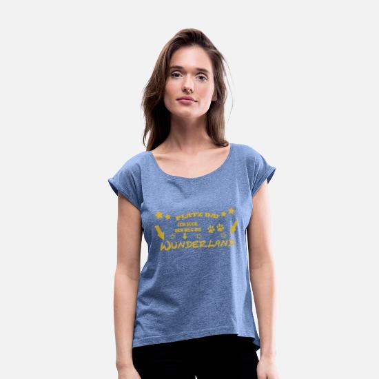 Gold T-Shirts - Wonderland! Gold and stars - Women's Rolled Sleeve T-Shirt heather denim