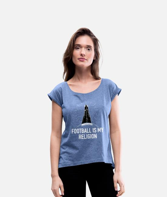 American Football T-Shirts - American football - Women's Rolled Sleeve T-Shirt heather denim