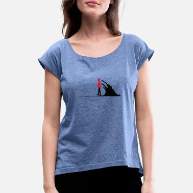Dark Wave Man walking from the black waves of darkness - Women's Rolled Sleeve T-Shirt