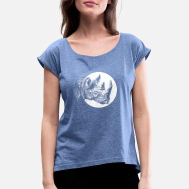Lino Cut Save the rhinos - Women's T-Shirt with rolled up sleeves