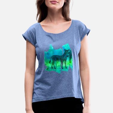 815c7438519d2 Zèbre zèbres zèbre rayures t-shirt - T-shirt à manches retroussées Femme