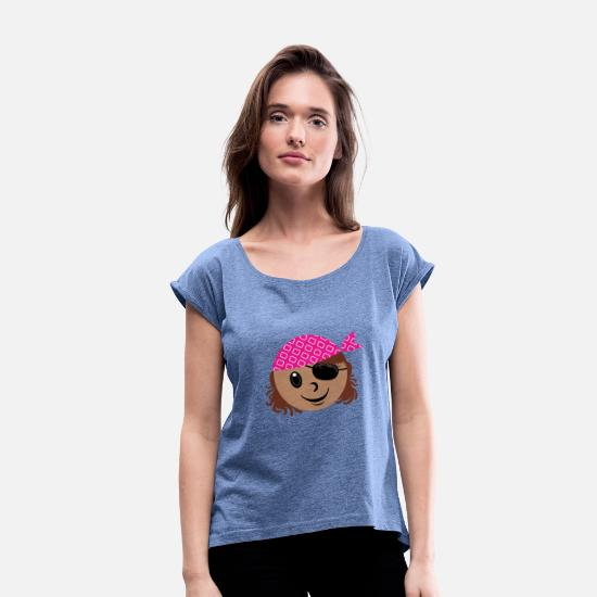 Birthday T-Shirts - Children's pirate logo little sailor with eye patch - Women's Rolled Sleeve T-Shirt heather denim
