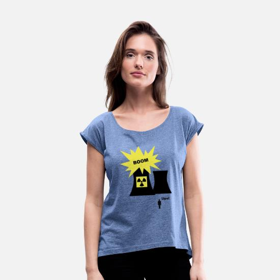 Media T-Shirts - Nuclear Energy - Women's Rolled Sleeve T-Shirt heather denim
