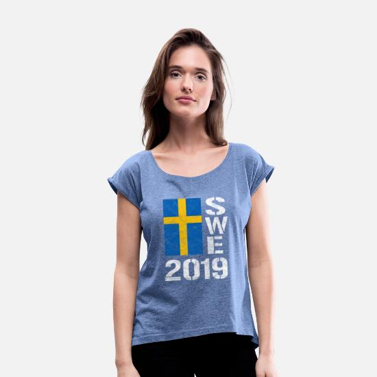 Swedish T-Shirts - Sweden 2019 SWE Football Handball Ice Hockey Fan - Women's Rolled Sleeve T-Shirt heather denim