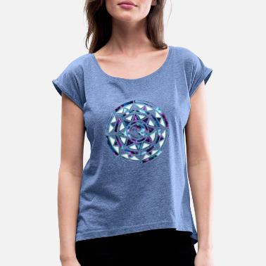 Sun Wheel Yin Yang star galaxy sun wheel universe - Women's T-Shirt with rolled up sleeves