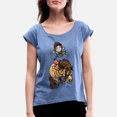 Thelwell Funny Illustration Bucking Horse - Women's Rolled Sleeve T-Shirt