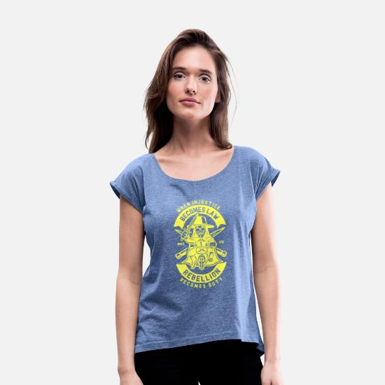 Wealth T-Shirts - Rebellion of the yellow west - Women's Rolled Sleeve T-Shirt heather denim