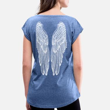 Angelwings Long White Outline Wings - Women's Rolled Sleeve T-Shirt