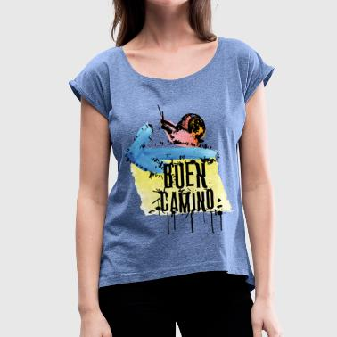 Buen Camino snail - Women's T-shirt with rolled up sleeves