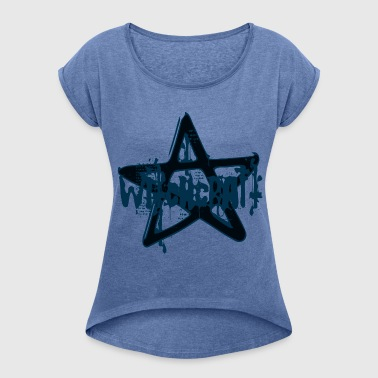 witchcraft witch pentagram pentacle evil star - Women's T-shirt with rolled up sleeves
