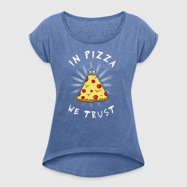 Pizza All Seeing Eye Illuminati Funny Food auge ma - Frauen T-Shirt mit gerollten Ärmeln