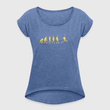 evolution human ekg heartbeat yoga 1 - Women's T-shirt with rolled up sleeves