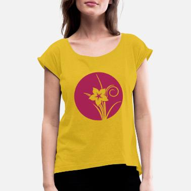 Pointing Left Flower circle point left - Women's Rolled Sleeve T-Shirt