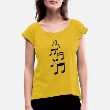 Dj music_notes_f1 - Women's Rolled Sleeve T-Shirt