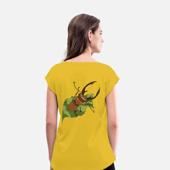 Forest T-Shirts - stag beetle - Women's Rolled Sleeve T-Shirt mustard yellow