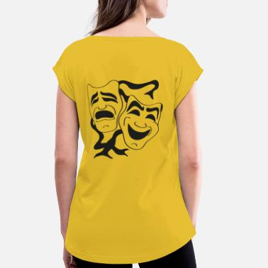 theater masks - Women's Rolled Sleeve T-Shirt