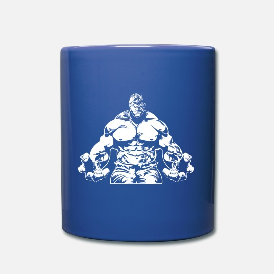 Body Builder Mugs & Drinkware - Muscle man power bodybuilding hero - Mug royal blue
