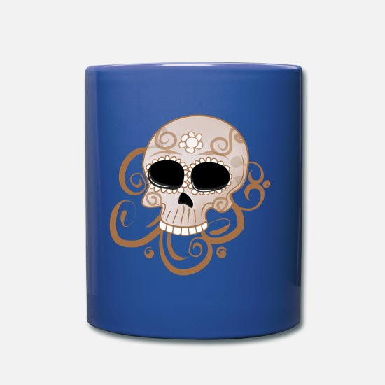 Flowers Mugs & Drinkware - Candy skull - Mug royal blue