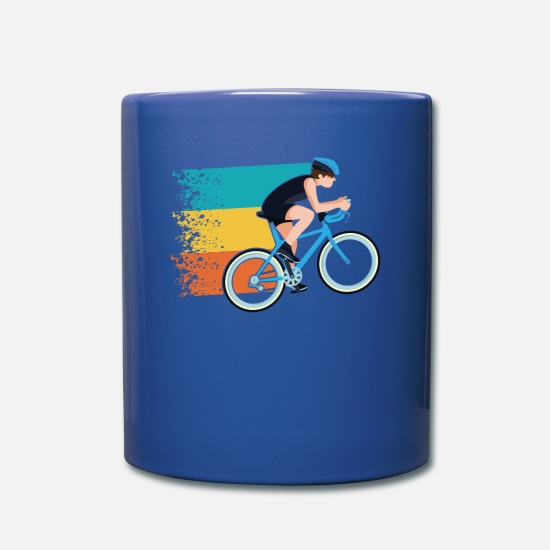 Gift Idea Mugs & Drinkware - Retro bike with color tail - Mug royal blue