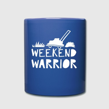 weekend warrior with lawn mower - Full Colour Mug