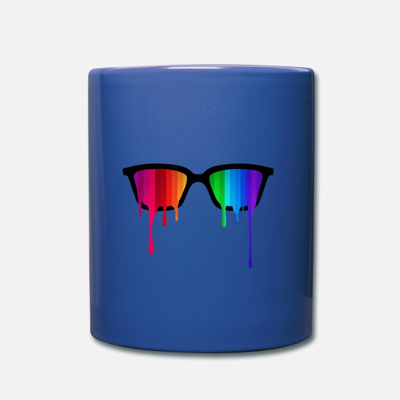 Gay Mugs & Drinkware - Rainbow - Spectrum (Pride) / Hipster Nerd Glasses - Mug royal blue