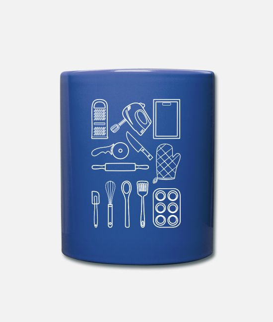 Cuisine Mugs & Drinkware - Kitchen utensils white - Mug royal blue