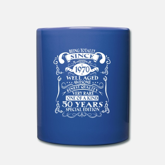 Old Mugs & Drinkware - 50th birthday - Mug royal blue